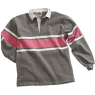 Barbarian Acadia Design Unisex Rugby Hoodie - Oxford/White/Pink
