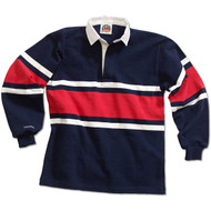 Barbarian Collegiate Design Unisex Rugby Hoodie - Navy/White/Red