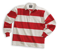 Barbarian Casual 4 Inch Stripe Design Unisex Shirt - White/Red