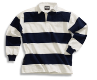 Barbarian Casual 4 Inch Stripe Design Unisex Shirt - White/Navy