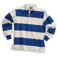 Barbarian Casual 4 Inch Stripe Design Unisex Shirt - White/Royal