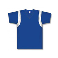 Athletic Knit Shoulder Inserts V-Neck Baseball Jersey
