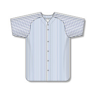 Athletic Knit Poly Warp Knit Full Button Pinstripe Baseball Jersey