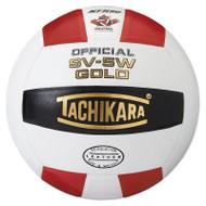 Tachikara Gold Leather Volleyball - Scarlet/White/Black