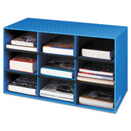 Classroom Literature Sorter, 9 Compartments, 28 1/4 x 13 x 16, Blue