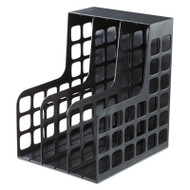 DecoRack Plastic Magazine File, Two Snap-In Dividers, 9 x 10 5/8 x 12, Black