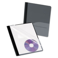 Clear Front Report Cover, CD Pocket, 3 Fasteners, Letter, Black, 25/Box