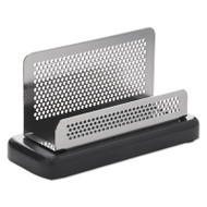 Distinctions Business Card Holder, Capacity 50 2 1/4 x 4 Cards, Metal/Black