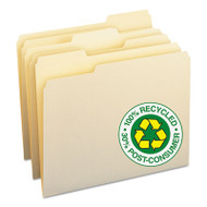 100% Recycled File Folders, 1/3 Cut, One-Ply Top Tab, Letter, Manila, 100/Box