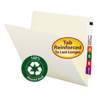 100% Recycled End Tab Folders, Reinforced Tab, Letter Size, Manila, 100/Box