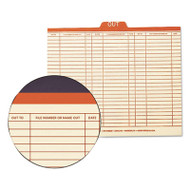 """Charge-Out Record Guides, 1/5, Red """"OUT"""" Tab, Manila, Letter, 100/Box"""