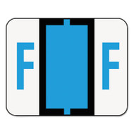A-Z Color-Coded Bar-Style End Tab Labels, Letter F, Blue, 500/Roll
