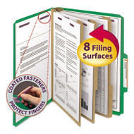 """3"""" Expansion Classification Folder, 2/5 Cut, Letter, 8-Section, Green, 10/Box"""
