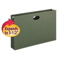 """3 1/2"""" Cap Hanging Pockets w/Full-Height Gussetts, Legal, Green, 10/Box"""