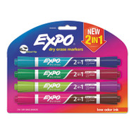 2-in-1 Dry Erase Markers, 8 Assorted Colors, Medium, 4/Pack