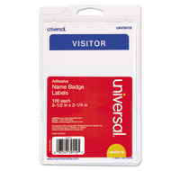 """Visitor"" Self-Adhesive Name Badges, 3 1/2 x 2 1/4, White/Blue, 100/Pack"