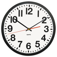 """Deluxe Large Numeral Clock, 13"""", Black Frame, White Face"""