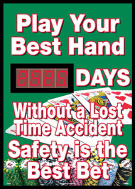 PLAY YOUR HAND DAYS WITHOUT A LOST TIME ACCIDENT SCOREBOARD