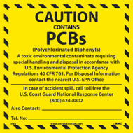 CAUTION CONTAINS PCB'S HAZMAT LABEL
