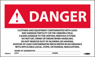 DANGER CONTAMINATED WITH LEAD GENERATOR INFO WARNING LABEL