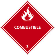 COMBUSTIBLE 3 DOT PLACARD LABEL
