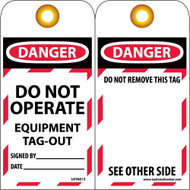 DANGER DO NOT OPERATE EQUIPMENT TAG-OUT TAG