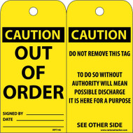 CAUTION OUT OF ORDER TAG