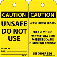 CAUTION UNSAFE DO NOT USE TAG