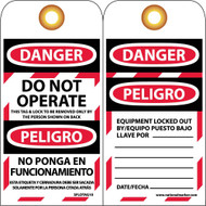 DANGER DO NOT OPERATE THIS BILINGUAL TAG
