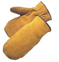 Bourbon brown - side split leather mitten - pile lined - wing thumb - S-XL