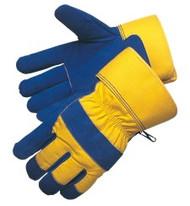 "Blue side split leather - yellow canvas back - thermo lined - 2 1/2"" rubberized cuff"