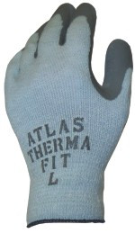 """ATLAS THERMA FIT"" 10 gauge, gray shell, gray latex dip palm/fingertips - S-XL"