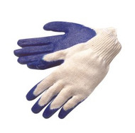 10 gauge, natural white shell, blue latex coated palm/fingertips, S, L & XL