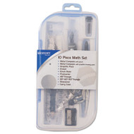Ten Piece Math Tool Kit, Blue and Gray Tools, Hard Plastic Case