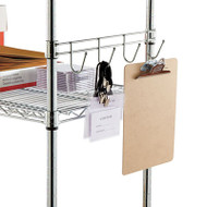 """Hook Bars For Wire Shelving, Four Hooks, 18"""" Deep, Silver, 2 Bars/Pack"""