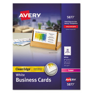 Clean Edge Business Cards, Laser, 2 x 3 1/2, White, 400/Box