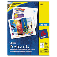 Photo-Quality Glossy Postcards for Inkjet Printers, 4 1/4 x 5 1/2, White, 100/Pk