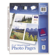 Photo Storage Pages for Six 4 x 6 Mixed Format Photos, 3-Hole Punched, 10/Pack