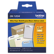 "Die-Cut Multipurpose Labels, 0.66"" x 2-1/10"", White, 400/Roll"