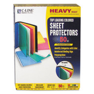 """Colored Polypropylene Sheet Protector, Assorted Colors, 2"""", 11 x 8 1/2, 50/BX"""