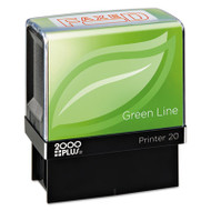 2000 PLUS Green Line Message Stamp, Faxed, 1 1/2 x 9/16, Red