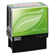 2000 PLUS Green Line Message Stamp, Paid, 1 1/2 x 9/16, Red