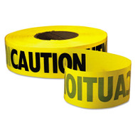"""Caution Barricade Tape, """"Caution"""" Text, 3"""" x 1000ft, Yellow/Black"""