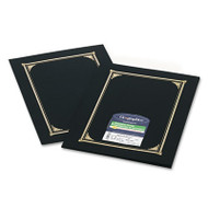 Certificate/Document Cover, 12 1/2 x 9 3/4, Black, 6/Pack