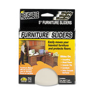 """Mighty Mighty Movers Reusable Furniture Sliders, Round, 5"""" Dia., Beige, 4/Pack"""