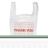 """Thank You"" Handled T-Shirt Bags, 11 1/2 x 21, Polyethylene, White, 900/Carton"