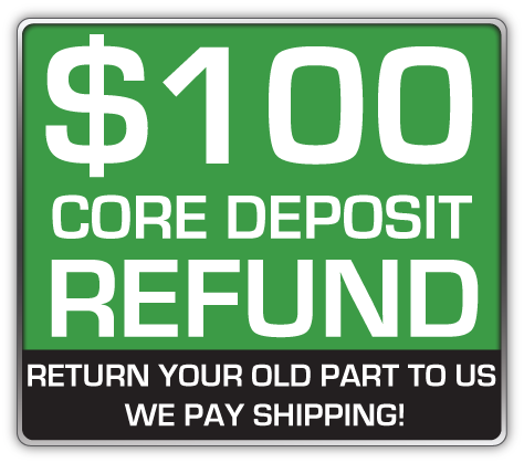 Core Deposit: THE SALES PRICE OF THIS ITEM INCLUDES A $100.00 REFUNDABLE CORE DEPOSIT. WE WILL REFUND $100.00 BACK TO YOU WHEN YOU RETURN YOUR OLD STRUTS TO US. (prepaid return label included Continental USA Only).