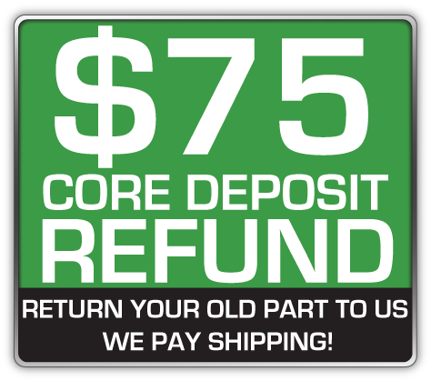 Core Deposit: THE SALES PRICE OF THIS ITEM INCLUDES A $75.00 REFUNDABLE CORE DEPOSIT. WE WILL REFUND $75.00 BACK TO YOU WHEN YOU RETURN YOUR OLD STRUTS TO US. (prepaid return label included Continental USA Only).