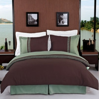 Astrid Sage & Chocolate Embroidered 3-Piece Duvet Cover Sets