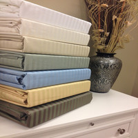 Combed Cotton Blend 650 Thread Count Stripe Queen Sheet Set